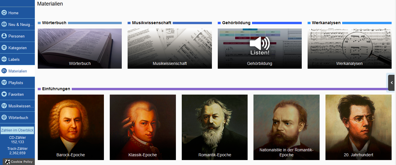Screenshot Naxos Music Library Materialien